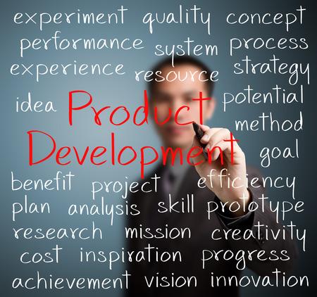 product development: business man writing product development concept