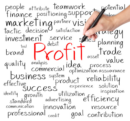business hand writing profit concept photo