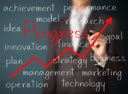 improved: business man writing improved progress concept Stock Photo