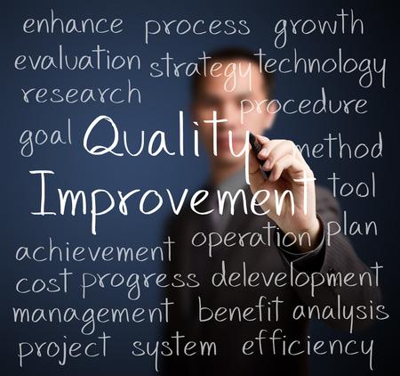 Le concept d'amélioration de la qualité de l'écriture de l'homme d'affaires Banque d'images - 26051180