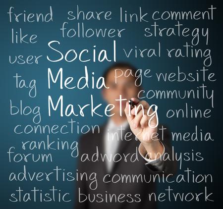 ソーシャル メディアのマーケティングの概念を書くビジネス男 写真素材