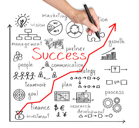 La main d'affaires écrire la réussite de l'entreprise par de nombreux processus Banque d'images - 26051185
