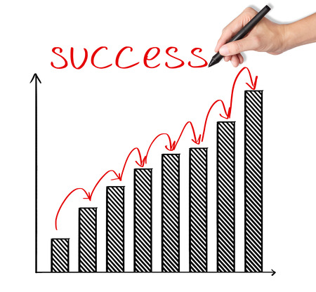 Graphique de croissance écriture de la main d'affaires de l'étape Banque d'images - 26052510
