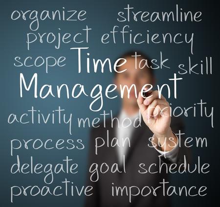 時間管理の概念を書くビジネス男