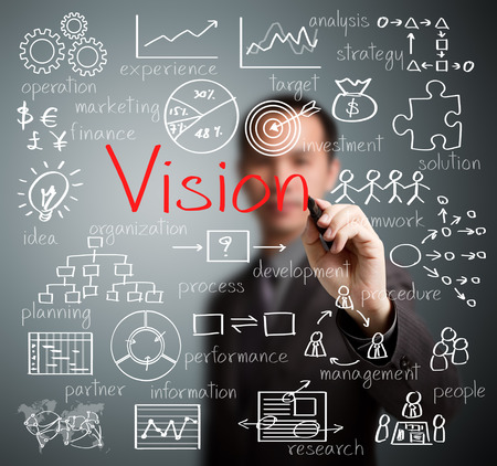 vision business: business man writing vision concept