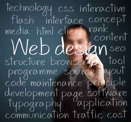 design web: business man writing web design concept Stock Photo