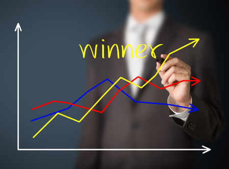 collate: business man writing graph of winner compare with others
