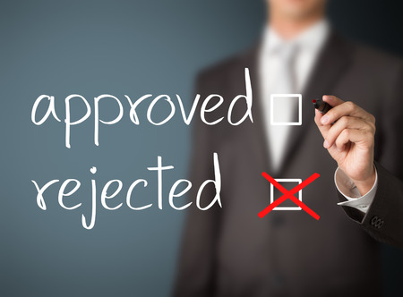 reject: business man selecting rejection