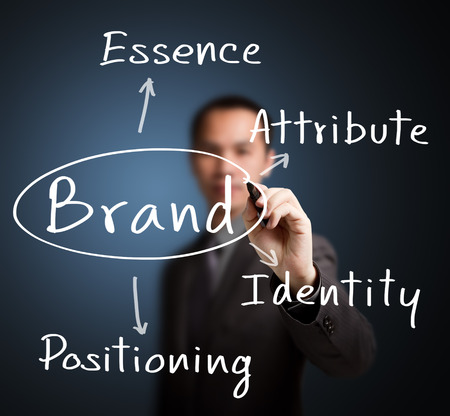 attribute: business man writing brand concept   essence - attribute - positioning - identity   for emotional marketing Stock Photo