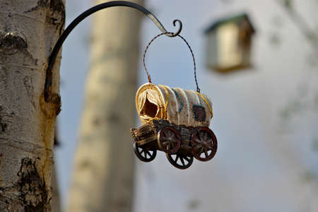 covered wagon: Covered wagon birdhouse hanging from white alder tree