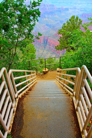 Stairway leading to viewing area of the north rim of the Grand Canyon photo