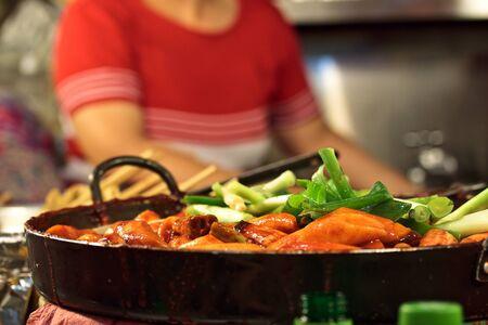 street food: Cooking ttekbokki (korean traditional dish) Stock Photo