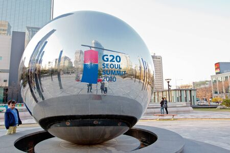 g20: A ball with G20 summit logo in Seoul downtown. The summit was held in november 2010.