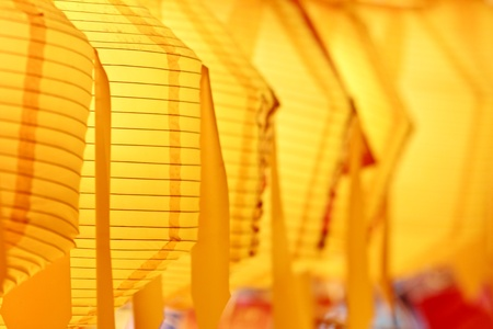 colorful lantern: Closeup of yellow paper lanterns with selected focus