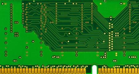dimm: Electronic board (memory module) green background Stock Photo