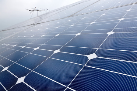 harmless: Domestic solar cell battery panel with selected focus Stock Photo