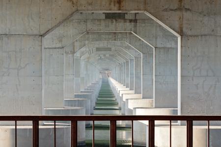 Light urban scene under modern highway bridge Jamsil bridge, Seoul