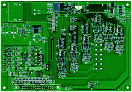 printed circuit: Green printed circuit board ready for assembling isolated on white