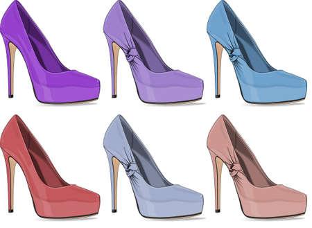 vrouwen elegante stiletto schoen set Stock Illustratie
