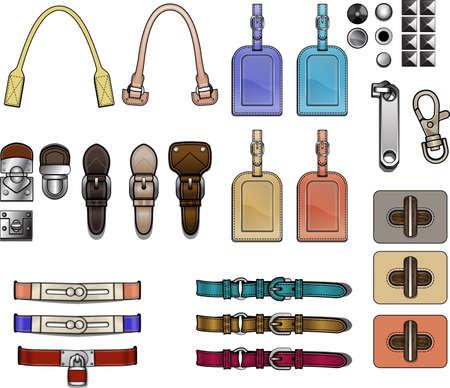 Handtas design elementen accessoires sluitingen hardware illustratie