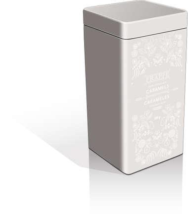 tea tin chocolate packaging illustration