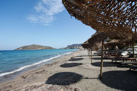 Seaview with umbrella, Porto Rafti, Aegean See, Greece