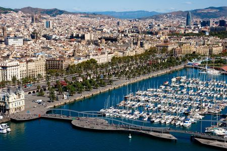 rambla: Barcelona port view from the air