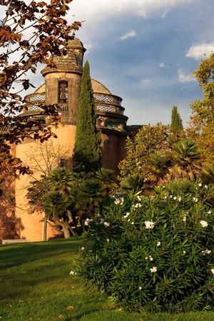 Little belfry in town park of Barcelona ,Spain
