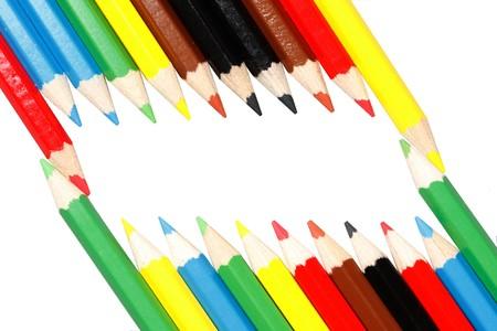 Telaio realizzato con matite colorate Archivio Fotografico