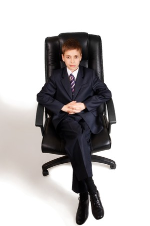 Young  business man on a chair