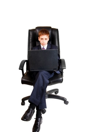 Young business child using laptop