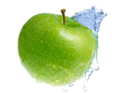 Green fresh apple and blue water  Stock Photo