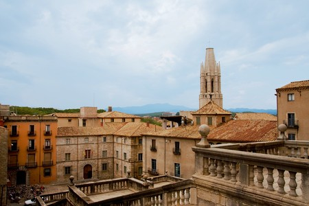 Panoramic view of old historic part of Girona, Spain