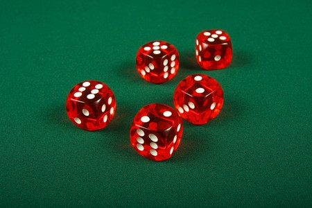 Red dices on casino table Stock Photo