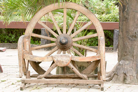 bogie: The antique cart Wheels made of wood Stock Photo