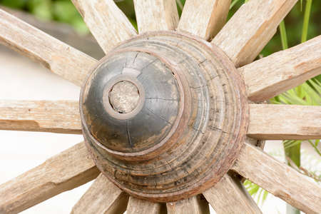 bogey: The antique cart Wheels made of wood Stock Photo