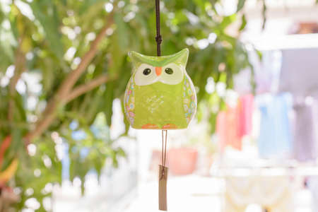 chime: Owls mobile wind chime in garden