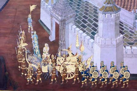 Wat Phra Kaew: Mural painting in wat phra kaew, Bangkok Thailand