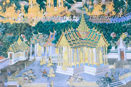 in wat phra kaew: Mural painting in wat phra kaew, Bangkok Thailand