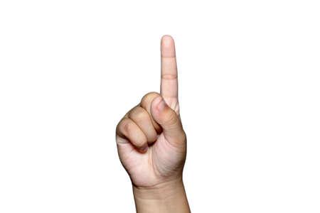 Boy one fingers up on hand 版權商用圖片