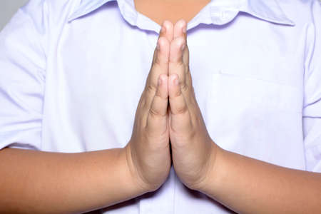 repentance: Boy to pay respect Stock Photo