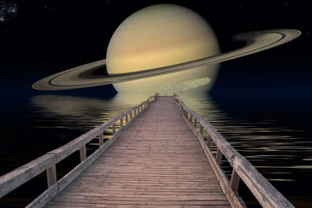 nasa: Planet Saturn. Elements of the furnished by NASA. Stock Photo