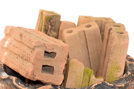 red clay: The red clay brick. Material for construction