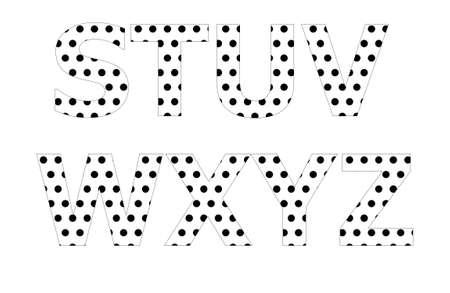 polka dot pattern: Polka dot pattern on english character Stock Photo