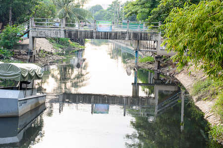 polluted: Polluted canal in Bangkok, Thailand