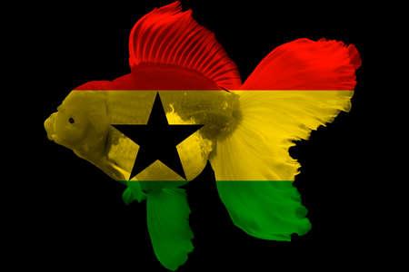 Ghana: Flag of Ghana on goldfish