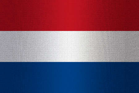 dutch tiles: Flag of Netherland on stone wall background.