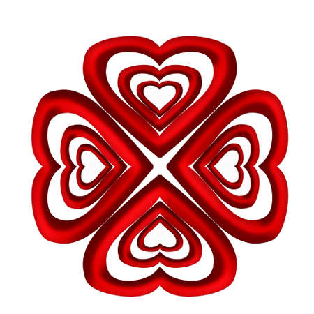heart chakra red: Abstract mandala heart on a white background. Stock Photo