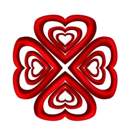 heart chakra red: Abstract mandala heart on a white background. Stock Photo