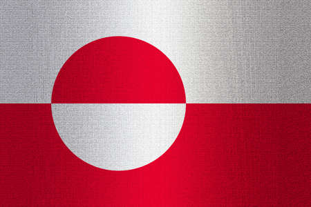 ice surface: Flag of Greenland on stone wall background.